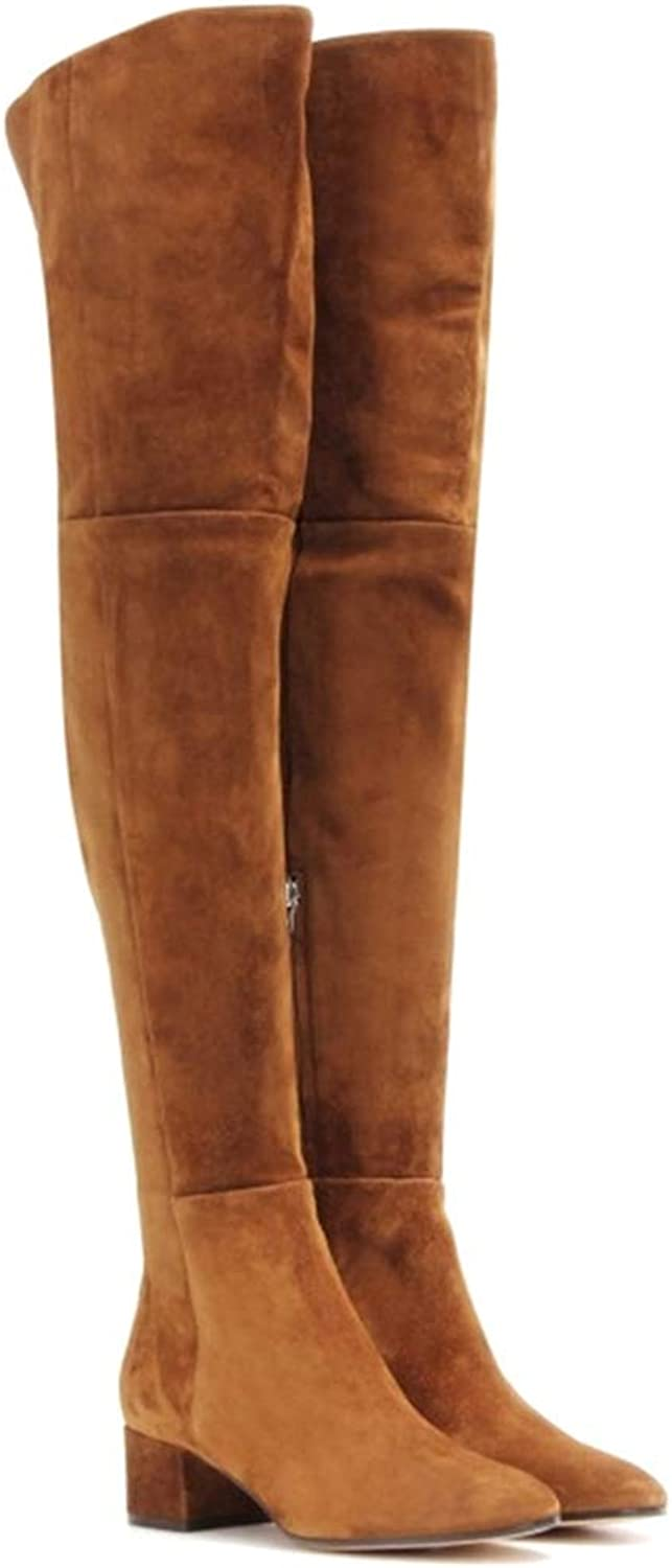 Square Heel Cow Suede Ladies Boots Zipper Square Heel Leather Over The Knee Boots