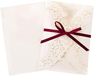 Doris Home 50 pcs Ivory White Laser Cut invitation with Burgundy Ribbons Wedding Invitation cards, Briday Shower Invitations (50pcs Complete Blank)