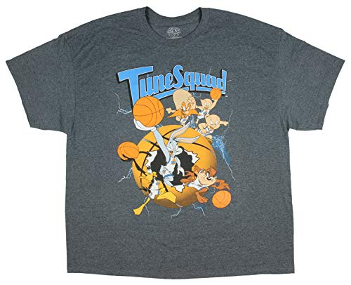Looney Tunes Space Jam Tune Squad Graphic Design Men's T-Shirt (XXX-Large) Charcoal Grey