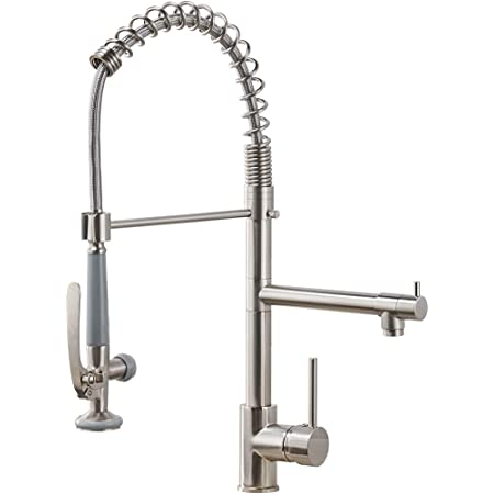 Fapully Commercial Pull Down Kitchen Sink Faucet with Sprayer Brushed Nickel