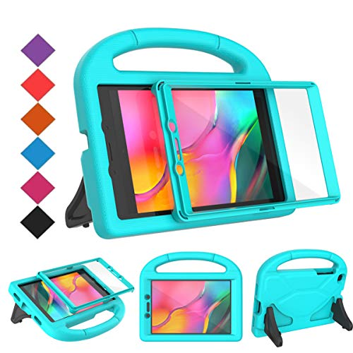 BMOUO for Samsung Galaxy Tab A 8.0 Case 2019 SM-T290/T295, Tab A 8.0 2019 Case with Screen Protector, Shockproof Light Weight Handle Stand Galaxy Tab A 8.0 2019 Kids Case Without S Pen - Turquoise