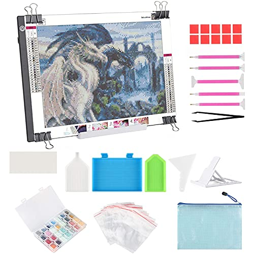 A4 LED Light Pad for Diamond Painting, ELICE LED Light Box Strudy Stepless Adjustable Brightness LED Light Board for Diamond Painting Artists Sketching Drawing Stencilling Animation, USB Powered (A4)
