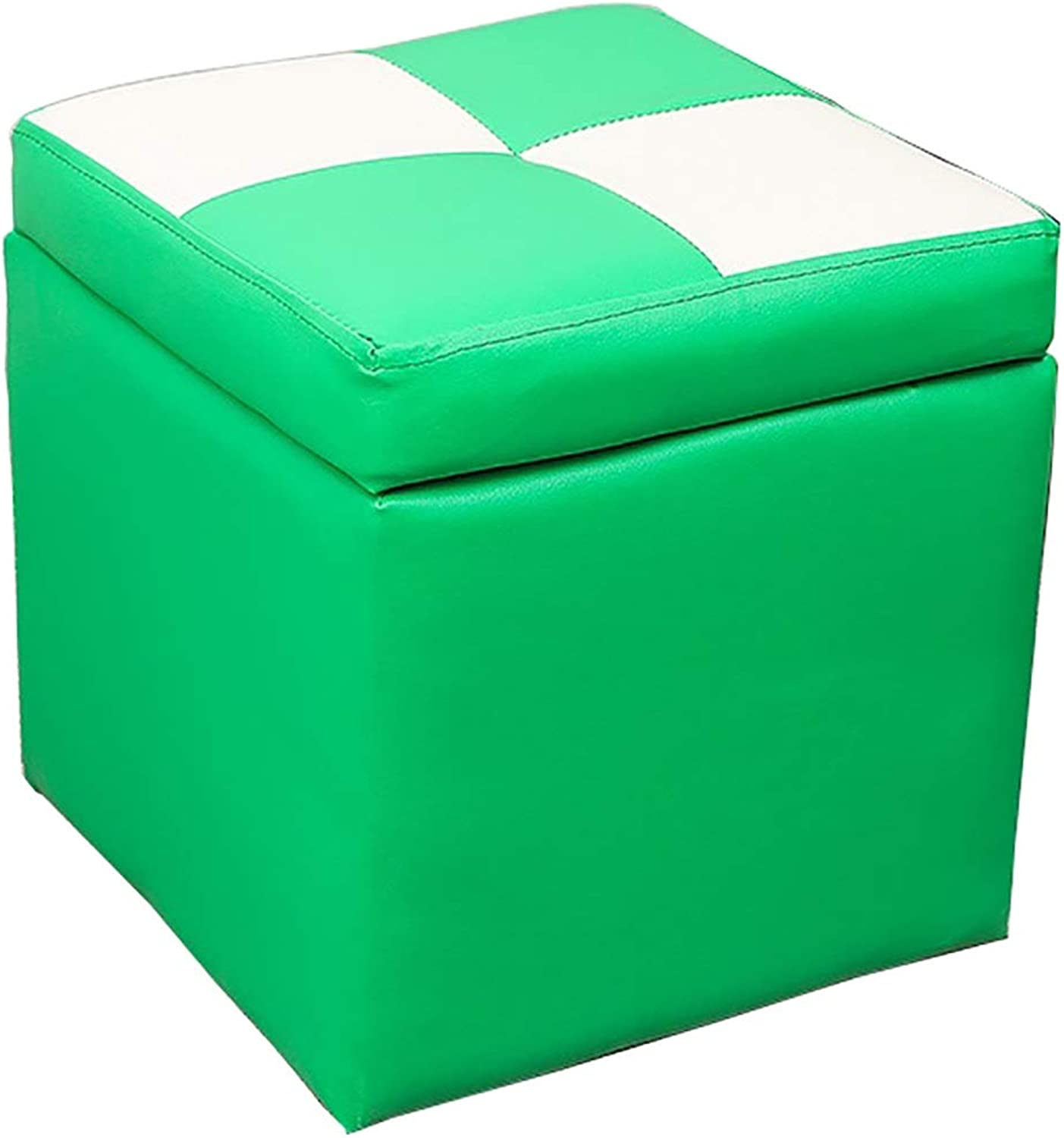 CAIJUN Footstool Waterproof Indoor Storage Comfortable Solid Wood Frame Multifunction, 7 colors (color   Green, Size   30x30x32cm)