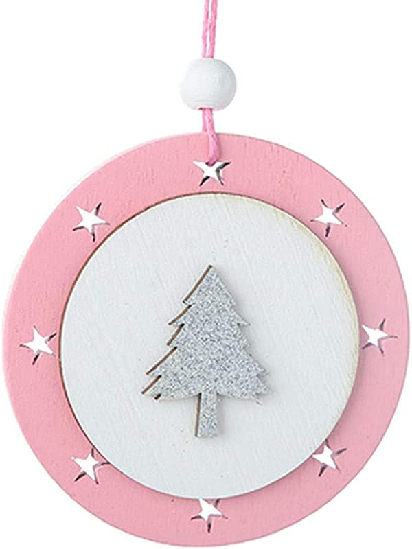 Christmas Pendant Ornament Wooden Pink Five Pointed Star Pendant Christmas Tree Hanging Ornaments Raindeer Christmas Rustic Stars