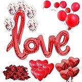 Set di Decorazioni romantica XXL 2020 - 31 Pezzi - amore – XXL 'love' Palloncino, Petali di Rosa...