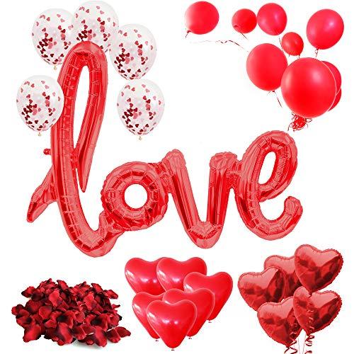 Romantische Deko Set XXL 2020 - 31-teilig - XXL love Ballon, Rosenblätter, Konfetti Ballons, Folien Herz Ballons, rote Ballons, Dekoration, Geschenk für Sie, Valentinstag, Hochzeit, Verlobung