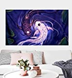 nigclor Avatar-Anime Art Tapestry Wall Hanging Yinyang Koi Fish Tapestry Polyester Tapestry Bright Wall Blanket Wall Decor for Bedroom Living Room Dorm 50' x 60'