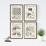 Nacnic Vintage - Pack de 4 Láminas con Patentes de Juegos Infantiles. Set de Posters con inventos y Patentes Antiguas. Elije el Color Que Más te guste. Impreso en Papel de 250 Gramos de Alta Calidad