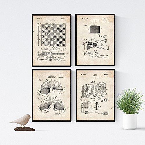 Nacnic Vintage - Pack de 4 Láminas con Patentes de Juegos Infantiles. Set de Posters con inventos y Patentes Antiguas. Elije el Color Que Más te guste.