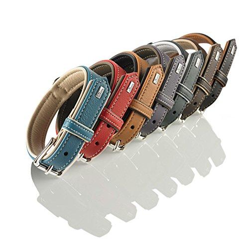 HUNTER CANADIAN Hundehalsband, Leder, hochwertig, weich, 60 (M-L), dunkelgrau/grau
