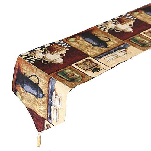 QXbecky Camino de Mesa Retro nostálgico café Estilo de Pintura al óleo Mesa de Comedor de Alta precisión Mesa de Centro Zapatero Mantel Mueble de TV Mantel de té Largo Cama 33x210cm
