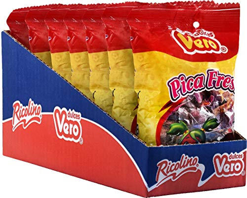 Dulces Vero Pica Fresa – Strawberry and Chili Gummy Candy - Sweet and Spicy Candy, Box with 7 Gummy Bags of 30 pieces