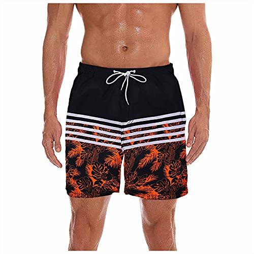 MEITING Pantalones De Playa Verano para Hombre con Rayas Negras En Camuflaje Estampado,Hombres Cortos Bermudas Bolsillos Solapa EjéRcito Trabajo del Basculador