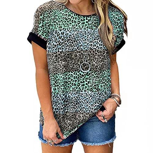 Camiseta Mujer Shirt Mujer Sexy Patrón De Leopardo Cuello Redondo Manga Corta Moda De Verano Casual Suelto Cómodo Chic Nuevas Mujeres Top Mujer Camisas E-Green L