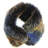 FERETI® Sciarpa Corto Di Ecopelliccia Donna Blu Collo Sintetica Volpe scaldacollo pelliccia Fascia Per Capelli