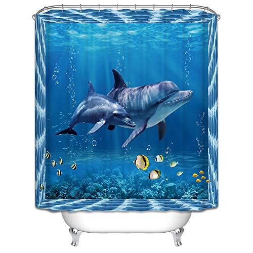MALECUPWH Cortina Ducha Tela Animal Delfín Impermeable Antimoho Cortina Baño 120 X 200 Cm Poliéster con Ganchos Cortina Ducha