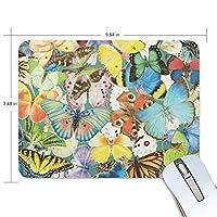 マウスパッド 美しい蝶々柄 カラフルな図案 ゲーミングマウスパッド 滑り止め 19 X 25 厚い 耐久性に優れ おしゃれ