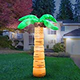 Holidayana Inflatable Palm Tree Decoration - 8ft Inflatable Luau Decoration Includes Built-in Bulbs, Tie-Down Points, and Powerful Built in Fan
