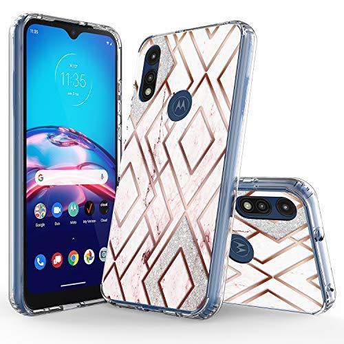 Funda para Motorola Moto E (2020), funda suave con purpurina brillante, diseño de rombos y mármol, a la moda, colorida, a prueba de golpes, para Motorola Moto E (2020)
