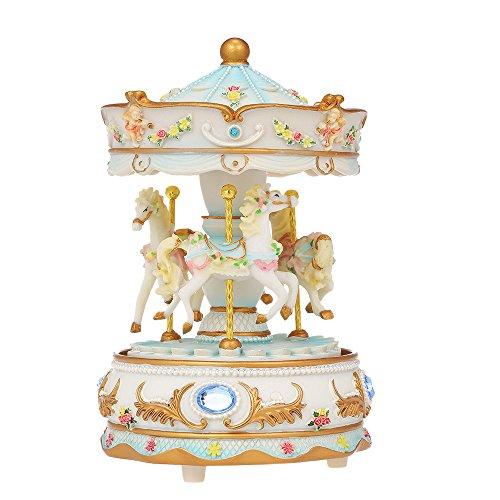 Docooler Mini carrusel Mecanismo Caja de Música LED Colorido Merry-go-Round Caja Musical Regalo para Novia Niños Niños Fiesta de Navidad