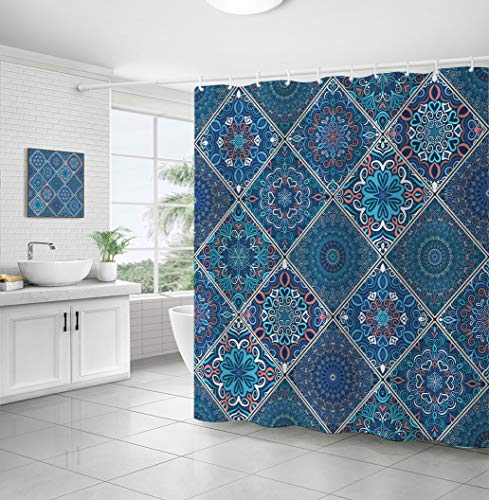 Curtainking Bohemian Shower Curtain Navy Patchwork Boho Chic Colorful Line Square Mandala Floret Ethnic Flower Polyester Fabric Bath Curtain Hand Drawn Oriental Design Curtain (Navy, 71x71)