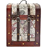 Juvale Wine Bottle Holder, Wooden Trunk with Map Design (11 x 8.5 x 9.8 in)
