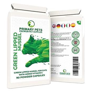Primary Pets Moule à Leuches Vertes pour Chats. 90 Capsules Poudres. Aide aux articulations pour moules à lèvres Vertes de Nouvelle-Zélande