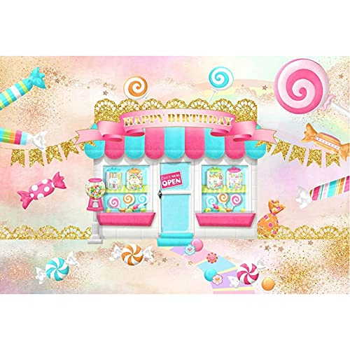 Photography Backdrops Candy Bar Shop Lollipop Baby Happy Birthday Decoration Background Photo Studio Photo Zone Photocall-270x180cm