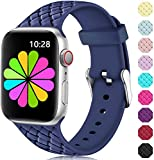 Haveda Compatible for Apple Watch Series 4 Series 5 40mm Band, Apple 5 Watch Bands iwatch Bands 38mm Womens, Cloth Dressy for Apple Watch Series 3/2/1  Silicone Blue+Lilac Fabric White Grid