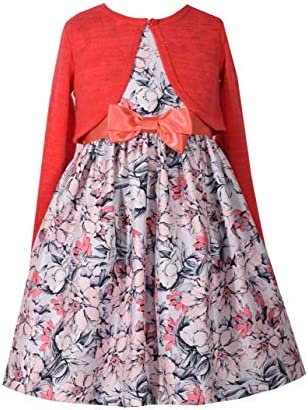 Bonnie Jean Girls Special Occasion Cardigan Dress Set 4T Coral product image