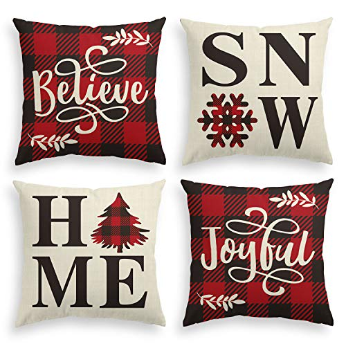 AVOIN Buffalo Plaid Believe Joyful Home Snow Throw Pillow Cover, 18 x 18 Inch Christmas Winter Holiday Snowflake Cushion Case Decoration for Sofa Couch Set of 4