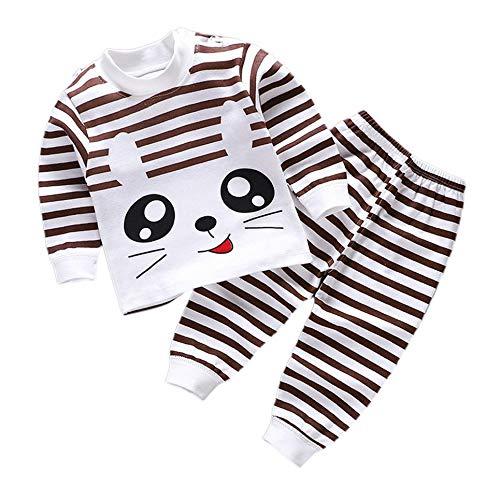 CVBN Conjunto de Pijamas para niños Pijamas para niños con patrón de Dibujos Animados de algodón Suave, Gato de café, 73cm