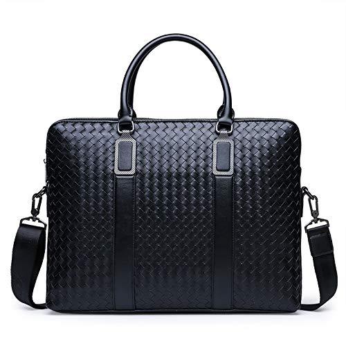 Yi-xir Ladies' favorite bag Men's Business Briefcase Woven Handbag Male Shoulder Spoil Body Bag Laptop Messenger Bag Travel Bag for Man Diagonal bag backpack (Color : Blue, Size : 39cm*8cm*30cm)