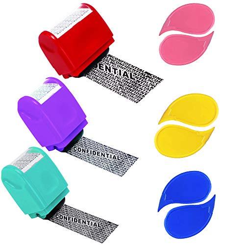 Rcanedny Paquete de 3 sellos de prevención de robos de identidad para protección de la identidad con 6 abrecajas expresas (color 2, grande y mediano)