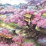 DEDC Rompecabezas 1000 Piezas para Adultos Niños, Art Painting Puzzle Decoración Rompecabezas Educativos Juegos de Bricolaje Brain Challenge Puzzle Sets, 70x50cm (Sakura Villa)