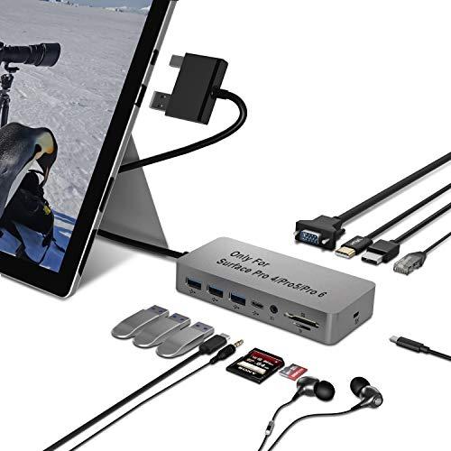 Surface Pro 4/5/6 Hub Dockingstation mit 1000 MBit/s LAN Anschluss, 2 Videoanzeige Anschlüssen (HDMI + VGA), 3 USB 3.0 + USB 2.0 + USB C Anschluss, Audio,SD und TF, Micro USB