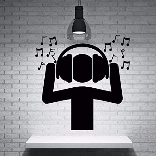 Material de Pvc negro Pegatinas de pared No tóxico Dj Fan Música Auriculares Onda de sonido Notas Pegatinas de pared Música en casa Decoración de fiesta 57X58Cm