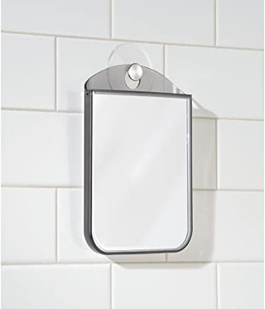mDesign beschlagfreier Rasierspiegel - mit Saugnapf - auch als Schminkspiegel benutzbar - der ideale Kosmetikspiegel für das Bad - grau