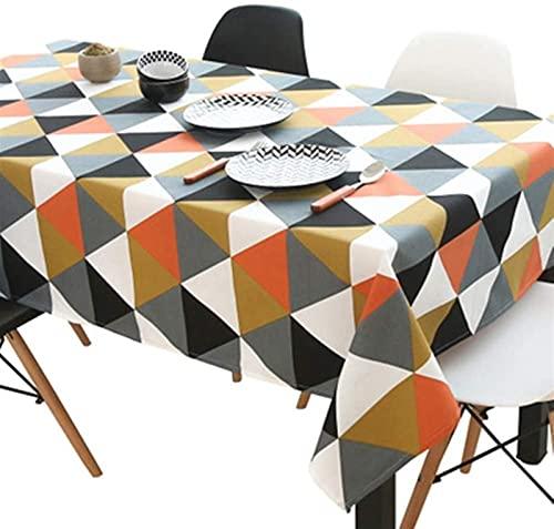 RENYC Manteles Manteles triángulo Mantel Tela Diamante de algodón Ropa de Mesa para Sala de Estar Tela de Mesa Picnic al Aire Libre para la Cocina (Color : Orange, Size : 140x140cm)