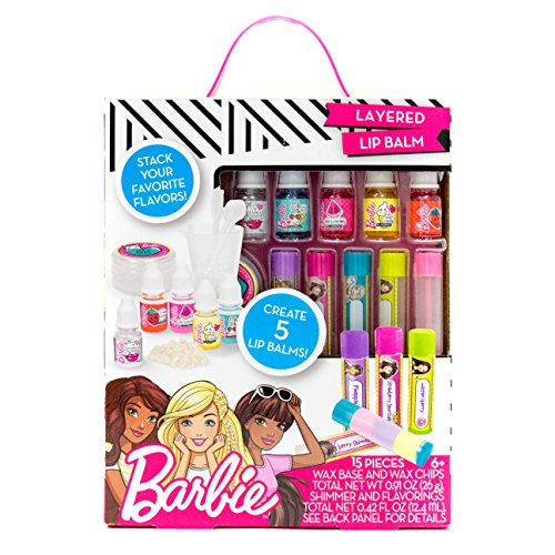 Barbie Make Your Own Layered Lip Balm Kit by Horizon Group USA, DIY 5 Custom Lip balms by Mixing Flavors Like Vanilla, Strawberry, Watermelon & Tropical Punch, Multicolored