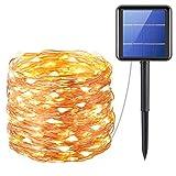 AMIR Guirnaldas Luces Exterior Solar, 22M 200 LED Cadena de Luces, 8 Modos de Iluminación, Luces Led Solares para Exteriores, Jardín, Arbol de Navidad, Festivales, Terraza (Blanco Cálido)