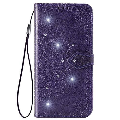 Hülle für Sony Xperia 10II Lederhülle Flip Tasche Klappbar Handyhülle mit [Kartenfächer] [Ständer Funktion], Cover Schutzhülle für Sony Xperia 10 II - JESD032352 Violett