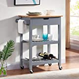 WOODEEM Small Kitchen Cart with Storage and Drawers, Rolling Kitchen Islands & Carts on Wheels, Microwave Cart Grey 24'