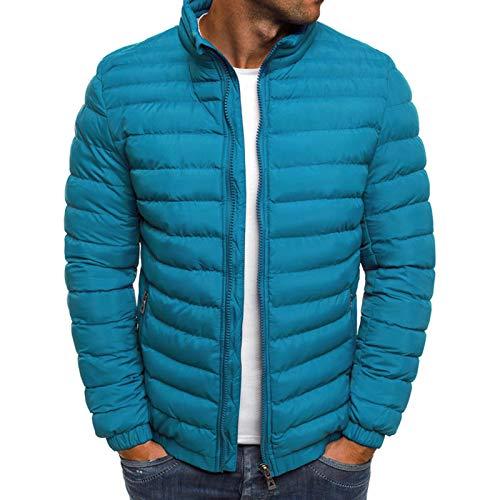 WLZQ Winter Mens Cotton Jacket Mens Solid Color Stand Collar Cotton Jacket Jacket Cotton Jacket Mens Cotton Jacket Jacket Sapphire