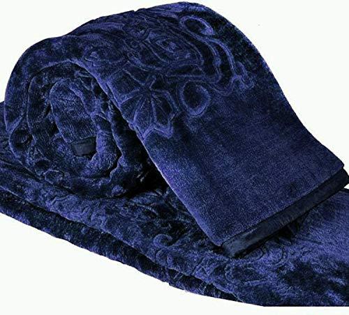 Cloth Fusion Celerrio Mink Double Bed Blanket (Navy Blue)