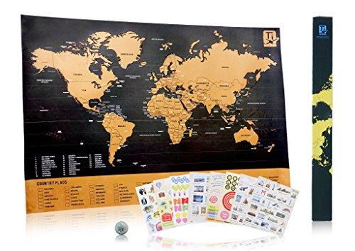 """Mappa da Grattare Voglia di Viaggiare Deluxe """"Scratch Wanderlust Map"""" - Usa la Moneta Per Grattare Facilmente – La Mappa Include 229 Deliziosi Adesivi di Viaggio – Condividi le Tue Storie di Viaggio"""