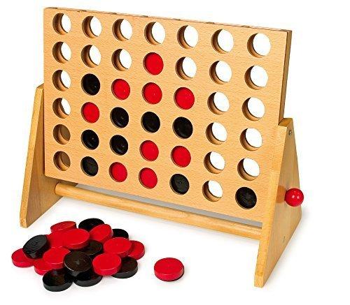 Puissance 4 en bois, la version solide en bois pour emmener et jouer partout.