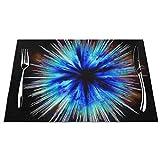 Kjlh Galaxy Stars Magic Set di 6 tovagliette resistenti al calore e antimacchia, antiscivolo, per tavolo da cucina, lavabili e resistenti, in PVC (6 pezzi)