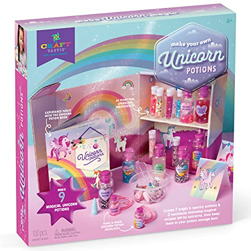 Craft-tastic DIY Unicorn Potions – Craft Kit for Kids – Includes Unicorn Potion Book with Magical Recipies, Enchanted Ingredients, Potion Cabinet, and More!
