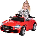 Actionbikes Motors Kinder Elektroauto Mercedes Amg GT-R - lizenziert – 2 x 25 Watt Motor – Ledersitz - Eva Reifen – Softstart - Kinderauto (Rot)